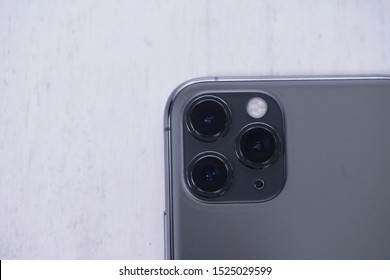Yogyakarta, IDN - Oct 6, 2019 : Close-up detail of the ultra-wide camera close-up macro details of new latest Apple Computers iPhone 11 Pro smartphone triple-lens camera