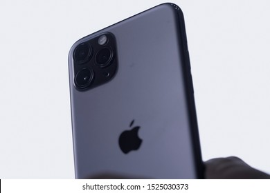 Yogyakarta, IDN - Oct 6, 2019 : Side view on the wide objective close-up macro details of new latest Apple Computers iPhone 11 Pro and 11 Pro Max smartphone triple-lens camera