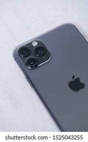 Yogyakarta, IDN - Oct 6, 2019 : Close-up detail of the ultra-wide camera close-up macro details of new latest Apple Computers iPhone 11 Pro Space Grey smartphone