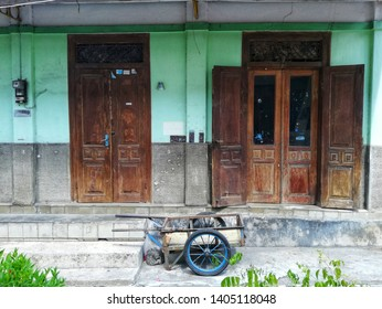 Yogyakarta, Indonesia - 05/23/2019 : an old house in one of the aisles beside the mall Malioboro reminded of 70s houses History