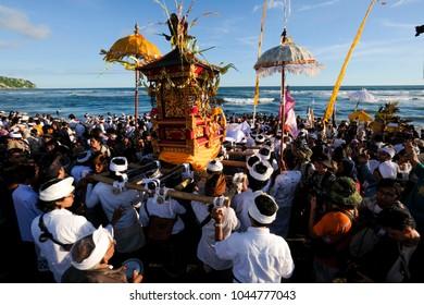 Yogyakarta, Indonesia 11th of March 2018. People following Melasti Ceremony at Parangkusumo Beach, Bantul, Yogyakarta
