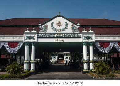 Yogyakarta, Indonesia - 12 August 2019: Palace of the Palace visible from the front, royal palace in Yogyakarta, Indonesia. Kraton Palace is a landmark and popular tourist destination in Yogyakarta.