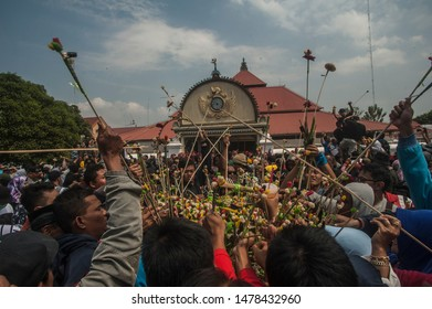 Yogyakarta, Indonesia - 12 August 2019: Yogyakarta Residents compete for the Great Gunungan Grebeg which is a cultural tradition at the Palace of the Yogyakarta Palace, Indonesia