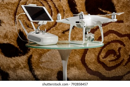 Yogyakarta, Indonesia - 14 January 2018: one of Professional drone from China technology is DJI phantom 4 Professional paired with iPad mini 3 and 5 obstacle avoidance sensors, 4K 20 Megapixels cam.