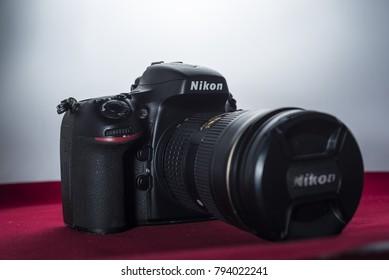 Yogyakarta, Indonesia - 14 January 2018: Nikon Digital Single Lens Reflex Camera of Nikon D800 with 36 Megapixels resolution and ultra high definition 1080p video capability.
