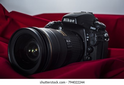 Yogyakarta, Indonesia - 14 January 2018: Nikon D800 DSLR camera in still life concept view complete with AFS zoom lens.