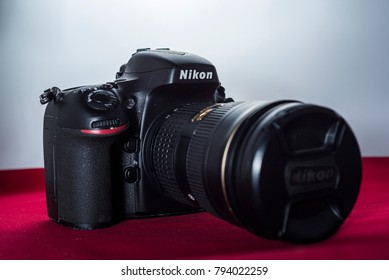Yogyakarta, Indonesia - 14 January 2018: Nikon DSLR high resolution with zoom lens dedicated for landscape photographer