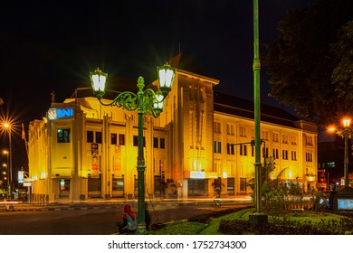 Yogyakarta, Indonesia - 16 April 2014: Bank building night view in Yogyakara city, its one of old heritage building.