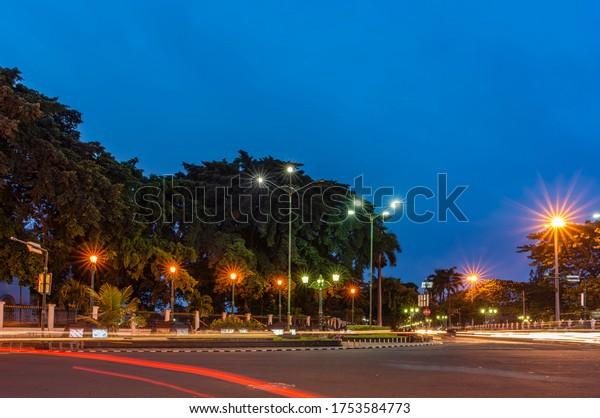 Yogyakarta, Indonesia -  16 April 2014: Center point of Yogyakarta city night photography, known as KM-0 or zero kilometer square