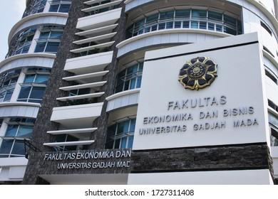 Yogyakarta, Indonesia, 16 September 2012. Nameplate of the Faculty of Economics and Business, Gadjah Mada University, Yogyakarta, a leading state university in Indonesia.