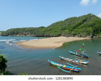Yogyakarta, Indonesia - 2019, January 10: Beautiful Views of Baron Beach in Yogyakarta Indonesia