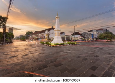 Yogyakarta, Indonesia - 21 April 2018: Tugu Jogja, or Known as Tugu Pal is the Iconic Landmark of Yogyakarta.