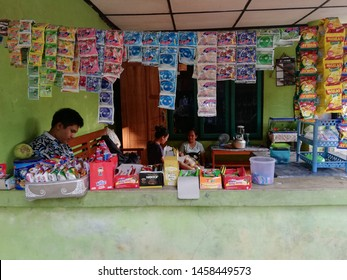 Yogyakarta, Indonesia - 21/07/2019 : warung tradisional utilize the space available at home