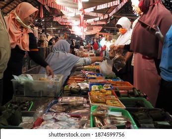 Yogyakarta, Indonesia, 23 August 2020. The activity of buying and selling traditional food at Kotagede market, Yogyakarta.