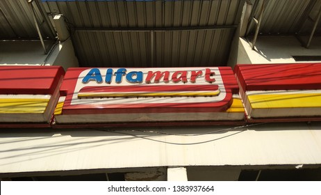 Yogyakarta, Indonesia - 27/04/2019: Sign of Alfamart, famous mini market in Indonesia