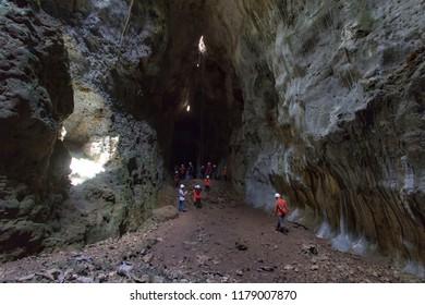 Yogyakarta, Indonesia 5th of August 2018. People are enjoying the beauty of Cokro Cave, Gunungkidul, Yogyakarta, Indonesia