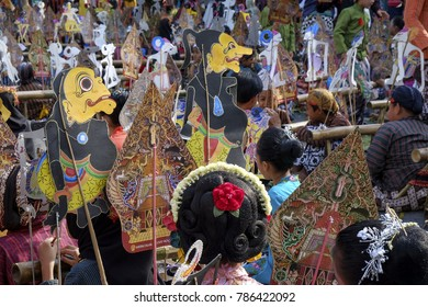 Yogyakarta, Indonesia, 5th November 2017 : Some children are playing puppet together