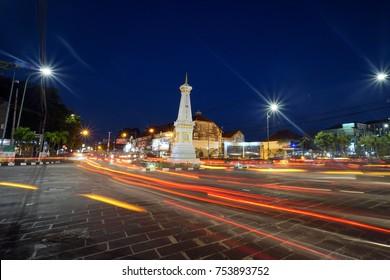 Yogyakarta, Indonesia, 8th August 2017. Beautiful Landmark Tugu Jogja, Yogyakarta, Indonesia.