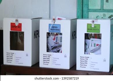 Yogyakarta, Indonesia - April 17, 2019. vote counting process at TPS. Indonesian elections 2019 in Yogyakarta City. proses perhitungan suara di TPS. Pemilu Indonesia 2019 di Kota Yogyakarta.