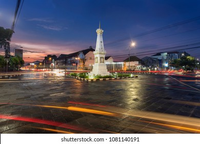 Yogyakarta, Indonesia - April, 21 2018: Tugu Jogja, or Known as Tugu Pal is the Iconic Landmark of Yogyakarta.