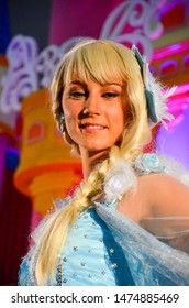 Yogyakarta, Indonesia - April 3 2015: Artist perform in fairyland carnival as princess Elsa