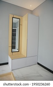 Yogyakarta, Indonesia - April 3 2021: minimalist wooden wardrobe from several angle.