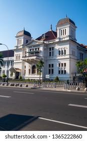 Yogyakarta / Indonesia - April 6, 2019 : Bank Indonesia heritage building near zero point at Malioboro street.