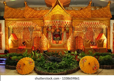 Yogyakarta, Indonesia - April 7th 2017 : Minang traditional wedding, West Sumatra, Indonesia
