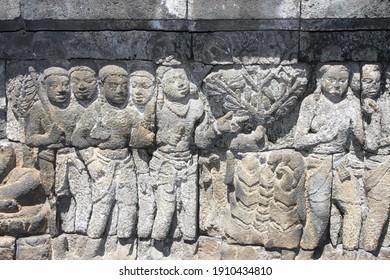 Yogyakarta, Indonesia. Around 2015. Borobudur Temple reliefs. Ancient heritage. World Heritage. Historic destination.