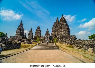 YOGYAKARTA, INDONESIA - AUGUST, 05: Tourists visiting Prambanan Hindu temple on AUGUST, 05, 2017, UNESCO World Heritage Site