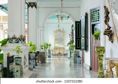 YOGYAKARTA, INDONESIA - AUGUST 10 2017: Interior and decoration hallway to the house of the Sultan who is in the palace of Yogyakarta