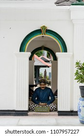 """YOGYAKARTA, INDONESIA - AUGUST 10 2017: The statue of """"Abdi dalem"""" or servant of the sultan in the palace of Yogyakarta"""