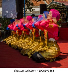 Yogyakarta, Indonesia - August 12th, 2017 : Ratoh Jaroe perform at Global Village, Yogyakarta, Indonesia. Ratoh Jaroe is a women version of traditional Saman dance from Aceh, Indonesia.