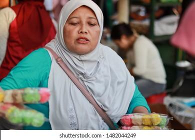 Yogyakarta, Indonesia. August 18, 2019. Traditional food seller in Beringharjo Market, Malioboro street Jogja
