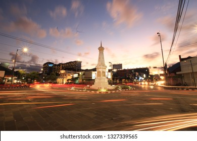 Yogyakarta, Indonesia - August 21, 2017.Tugu Jogja, or Known as Tugu Pal is the Iconic Landmark of Yogyakarta.