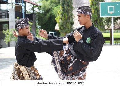 Yogyakarta, Indonesia - August, 24 2020: pencak silat is a traditional Indonesian martial art