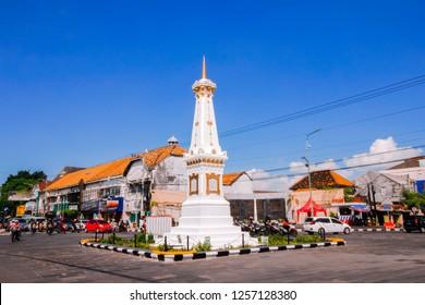 Yogyakarta, Indonesia - August 31, 2017: scenic view in the morning at Yogyakarta monument (Indonesian: Tugu Yogyakarta)