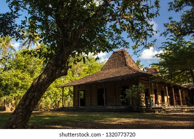 Yogyakarta, Indonesia - August 3rd 2018 : Joglo Sri Hartinah, this traditional house belonging to Ibu Sri Hartinah has been hundreds of years old which was built in November in 1920.