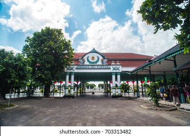 YOGYAKARTA, INDONESIA - August 5, 2017: Interior of the reception hall Bangsal Kencana / Golden Pavilion of the Sultan's Palace / Kraton.