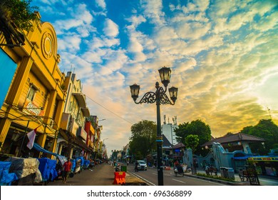 Yogyakarta, INDONESIA - August 7, 2017: Malioboro street or Jalan Malioboro. Name of the street that become a iconic of Jogjakarta city. The most famous street is alive 24 hours a day.