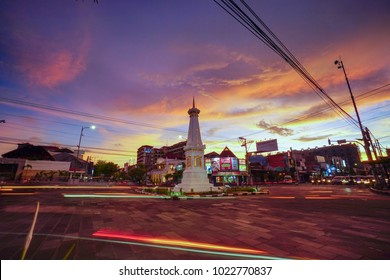 Yogyakarta, Indonesia - February 10th 2018 : Beautiful Sunset at Tugu Jogja