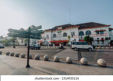 Yogyakarta, Indonesia - February 16, 2019 : sunny morning in downtown Jogja