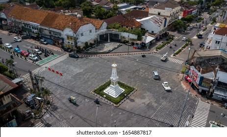 YOGYAKARTA, INDONESIA - February 25, 2020: Aerial shoot, scenic view in the morning at Yogyakarta monument (Indonesian: Tugu Yogyakarta)