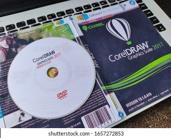 Yogyakarta, Indonesia - February 27, 2020: Examples of pirated CDs or illegal CorelDraw software.