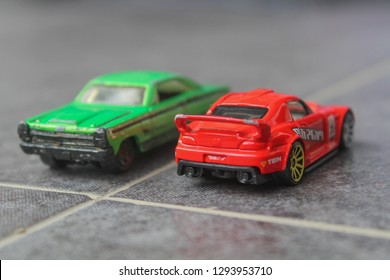 Yogyakarta, Indonesia - January 12, 2019: 1967 FORD FAIRLANE GT COUPE and HONDA S2000, Hotwheels