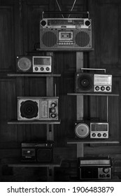 YOGYAKARTA, INDONESIA - JANUARY 17, 2021: Black and white picture of radio cassette collection for editorial usage