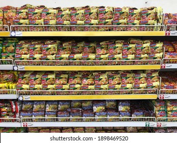 Yogyakarta, Indonesia - January 20 2021: full rack of Indonesia instant noodle sell in supermarket