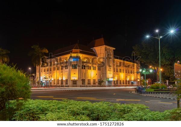 Yogyakarta, Indonesia - January 2014: BNI old building in Yogyakarta city center as historic landmark and local tourist destination begin point known as KM-0 or zero kilometers