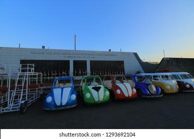 Yogyakarta, Indonesia - July 09, 2018: Tourist facility car at Monjali or Monumen Jogja Kembali, Yogyakarta, Indonesia