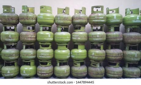 Yogyakarta, Indonesia - July 11, 2019: Pertamina 3 Kg LPG Gas Canister